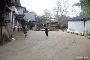 園庭で凧揚げをする子どもたち