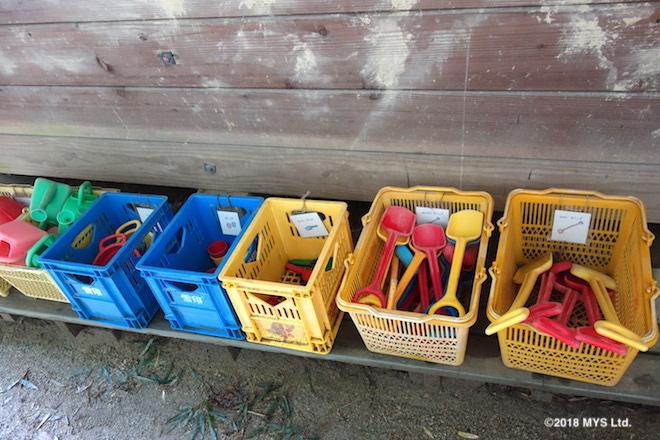 整理された砂場の道具