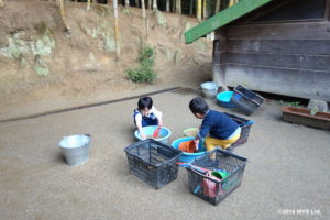 砂場で遊んだ道具を洗う子たち