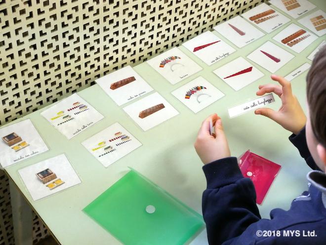 絵カードの活動をする子