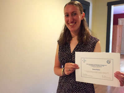montessori teacher Emma with Certificate