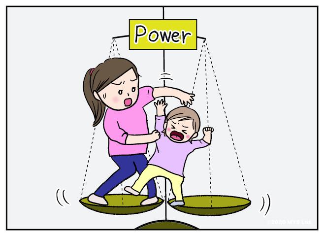 大人と子どもが権力争いする様子