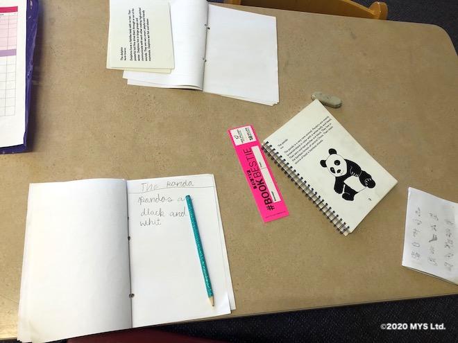 モンテッソーリ教育のワークでパンダについて調べる小学生