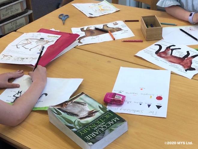 モンテッソーリ教育のワークで好きな動物について調べる小学生